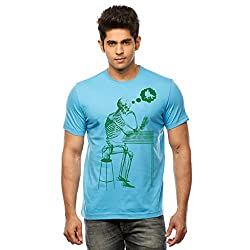 Huetrap Men's Lost in Thought Turq Blue T shirt
