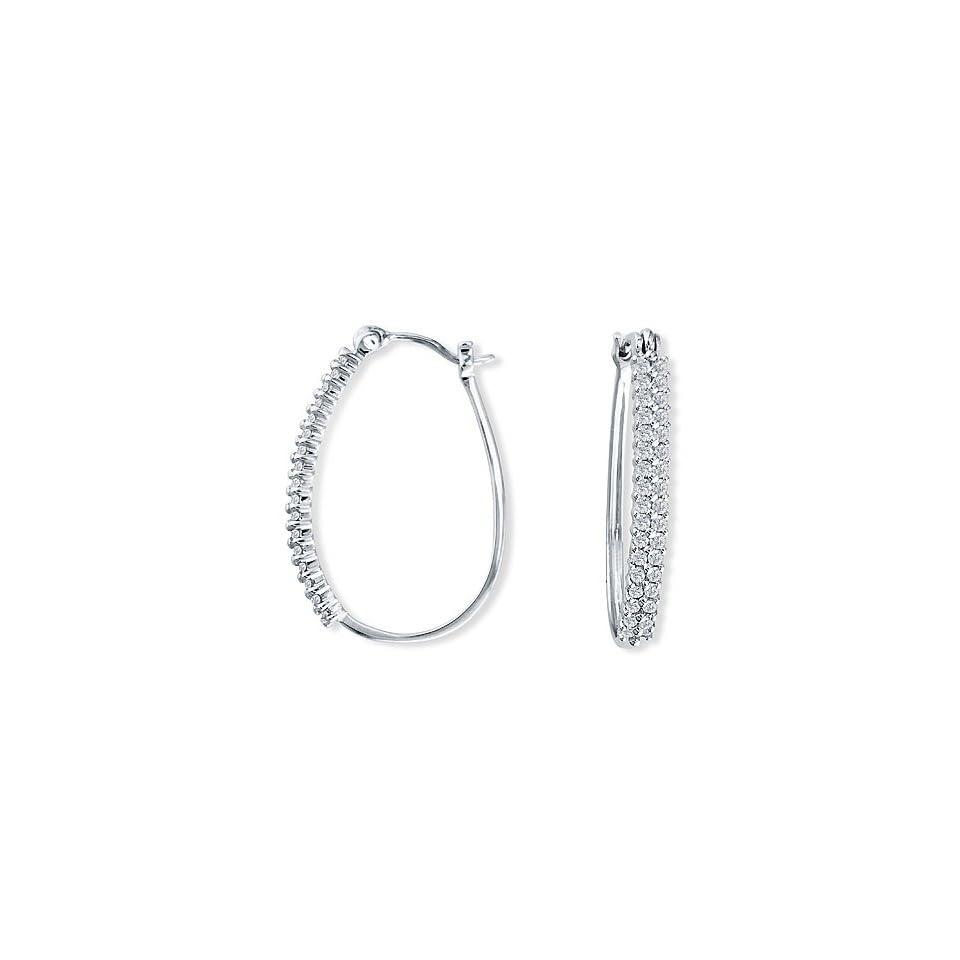 1/2 Carat (Ctw) Diamond 14K White Gold Hoop Earrings Jewelry