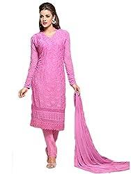Isha Enterprise Women's Chiffon Dress Material(KFD352-1689_Pink)