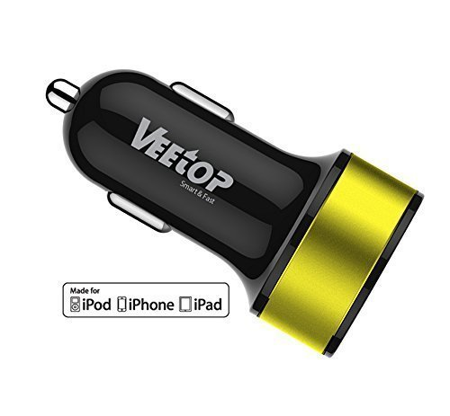 Veetop Veetop? Dual USB High Speed Car Charger UPGRADE 3.4Amp 15.5W 2.4A & 1.0A, Smart charging for all iPhones ,iPad Air, iPad Mini, Apple iOS7, iPod,iPod Touch, Samsung Galaxy S5/S4/S3/Not