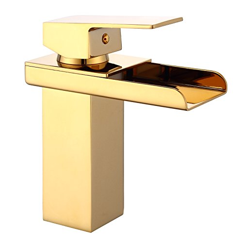 Eyekepper Comteporary Style Waterfall Single Handle Basin Vanity Sink Vessel Bathroom Faucet Mixer Tap,Gold Finished (Single Bathroom Vanity Faucet compare prices)
