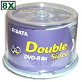 Ridata 9.4 GB 8X Double-Sided DVD-R's 50-Pak Cakebox (Color: purple)