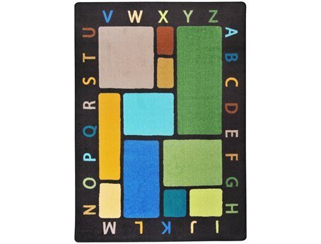 "Joy Carpets Kid Essentials Early Childhood Building Blocks Rug, Earthtone, 3'10"" x 5'4"""