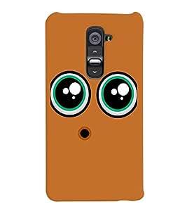 PrintVisa Cute Cartoon Eyes Smiley 3D Hard Polycarbonate Designer Back Case Cover for LG G2