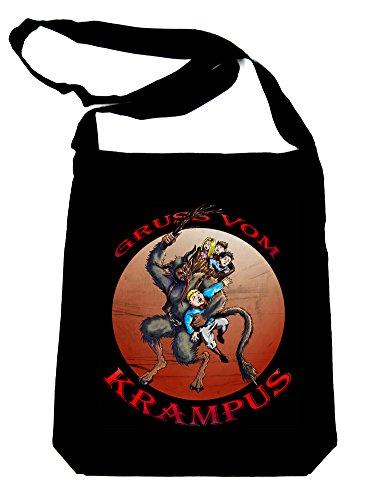 Gruss-Vom-Krampus-on-Black-Sling-Bag-Christmas-Book-Bag