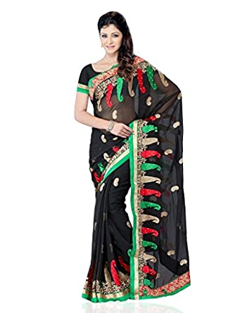 Diva Fashion Surat Georgette Embroidered Green Saree Dfs441B available at Amazon for Rs.2749