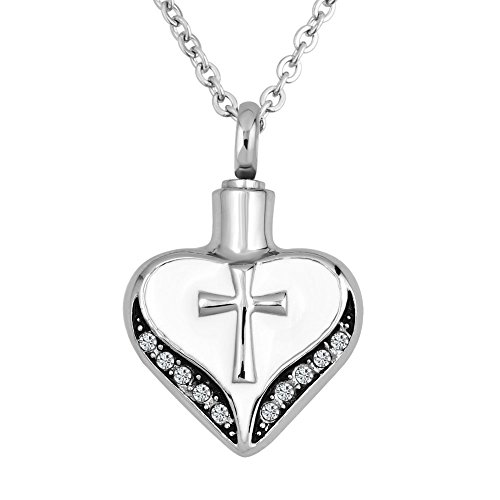 LuckyJewelry Cross Urn Ashes Heart Pendant Necklace Cremation Keepsake Memorial Crystal Stainless Steel (Cross Urn compare prices)