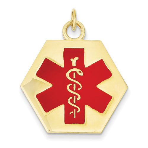 14K Yellow Gold Medical Alert Id Charm Pendant
