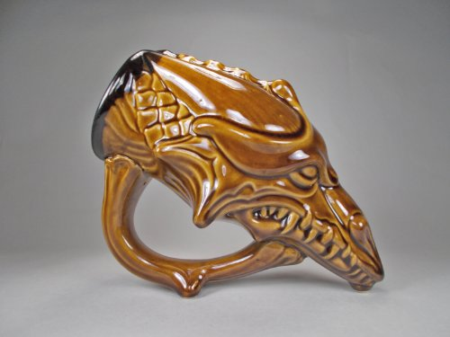 Wicked Dragon Beer Mug - Drinking Horn - The Mad Dragon - Turkish Amber Gloss Glaze - 22Oz - Made To Order