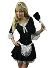 Yummy Bee Victorian Maid Costume + REAL FEATHER DUSTER Chambermaid Naughty Womens Fancy Dress Size 6 - 20 (Women: 14-16)