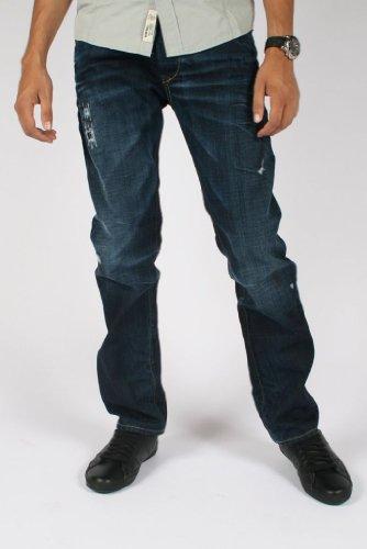 Diesel - Darron 008J1 Regular / Slim Fit Jeans for Men, Size: 40W x 30L, Color: Distressed Denim