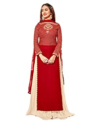 Shoppingover Bollywood Party Wear Anarkali Style Salwar Suit in Georgette Fabric-Red Color