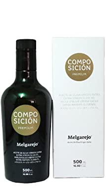 Melgarejo Composicion Premium Blend- Award Winning Cold Pressed EVOO Extra Virgin Olive Oil, 2013-2014 Harvest, 17-Ounce Black Glass bottle