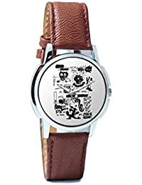 BigOwl Is It A Car Or A Cat Painting Analog Men's Wrist Watch 2114884526-RS1-W-BRW