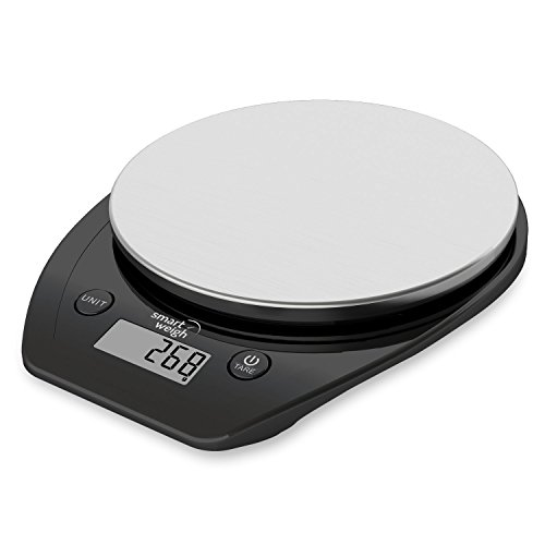 Smart Weigh 11 lb/15 kg Báscula Electrónica Multifuncional para Cocina y Alimentos, Plataforma de Acero Inoxidable, Gran Pantalla de LCD (Negro)