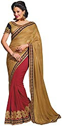 Ambica elegance speaks Women's Marble Saree (Ambica 3611_1, Red, Gold Colour)