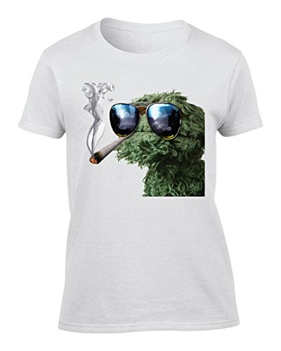 Oscar The Grouch Smoking Weed - XX-Large Donna T-Shirt