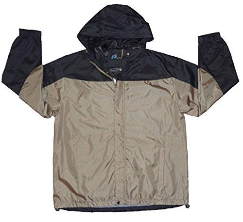 Men'S I5 Lightweight Hooded Windbreaker Jacket,Large,Khaki/Black 2 Tone