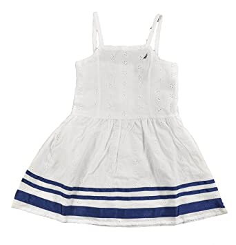 Amazon Nautica Toddler Girls White & Navy Blue Eyelet
