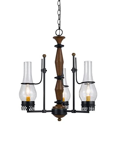 Cal Lighting Trenton 3-Light Chandelier With Bubbled Clear Glass Shade, Natural
