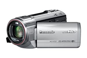 Panasonic HC-V727EG-S Camcorder mit Mikrofon (7,6 cm (3 Zoll) LCD-Display MOS-Sensor, 20,4 Megapixel Foto Auflösung , Full HD, 21-fach opt. Zoom, USB 2.0) silber