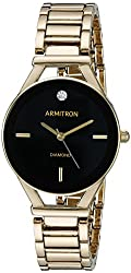 Armitron Women's 75/5334BKGP Diamond-Accented Dial Gold-Tone Bracelet Watch