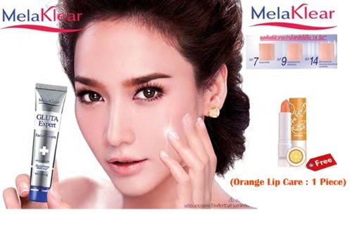 Melaklear Gluta 9000 Mg. Spf 15 Expert Whitening And Brightening Facial Day Cream 15 G. (Free Orange Lip Care : 1 Piece)