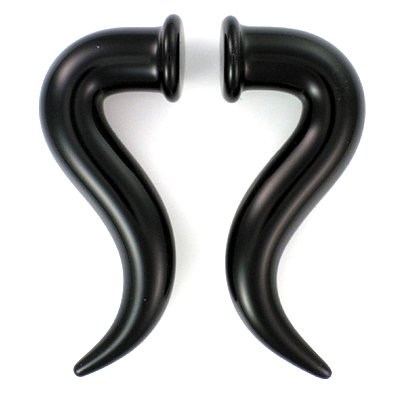 Black S-Talon Shape Glass Handmade Tapers - Each One Unique 00G (10mm) - Sold as a Pair