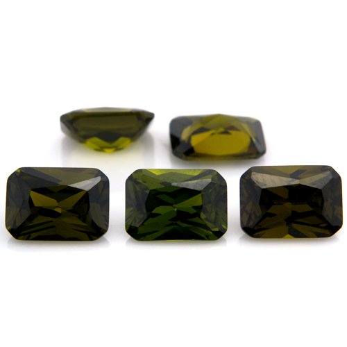 Octagon cut 5*7mm 20pcs Olive Green Cubic Zirconia Loose CZ Stone Lot