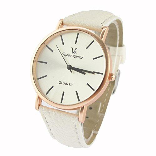 Youyoupifa Fashion Leather Strap Unisex Quartz Wrist Watch Casual Watch (White)