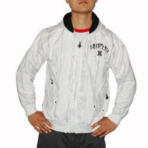 Mens Hurley Athletic / Surf Zip-Up Hoodie Jacket Sweatshirt - White