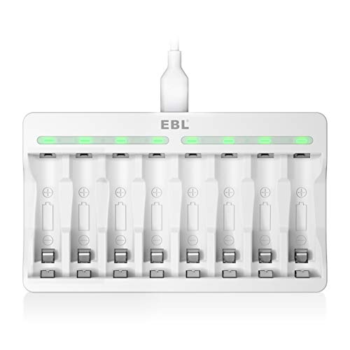 EBL AA AAA Battery Charger - 8 Bay Individual Battery Charger with Fast Charging Function for Ni-MH AA AAA Rechargeable Batteries