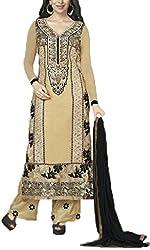 Vivacity Women's Faux Georgette Unstitched Dress Material (Fiona-5183_Beige_Free Size)