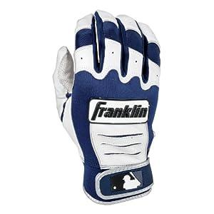 Franklin Sports Youth MLB CFX Pro Series Batting Gloves (Pair), Pearl/Navy, Medium
