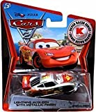 Disney Pixar CARS 2 Exclusive 1:55 Die Cast Car SILVER RACER Lightning McQueen With Metallic Finish - Véhicule Miniature - Voiture