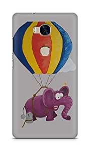 Amez designer printed 3d premium high quality back case cover for Huawei Honor 5X (Purple elephant)