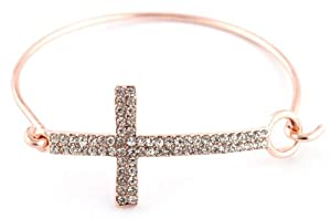 2 Pieces of Rose Goldtone Iced Out Cross Bangle Bracelet