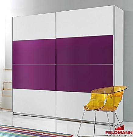 Schwebeturenschrank Kleiderschrank 54575 weiß / lila 220cm