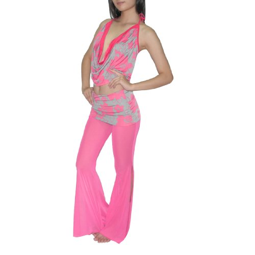 2Pcs:Ladies Exotic Belly Dance Cropped Tank Top & Pant