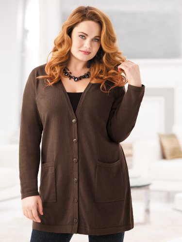 Ulla Popken Plus Size Oversized Cardigan Sweater - Espresso, 20/22
