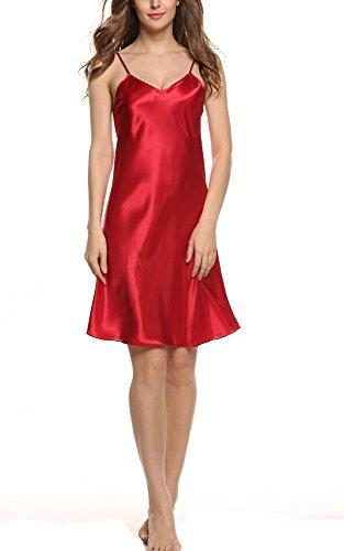 Avidlove Women\'s Nightshirts Satin Chemises Slip Sleepwear,Dark Red (FBA),Small