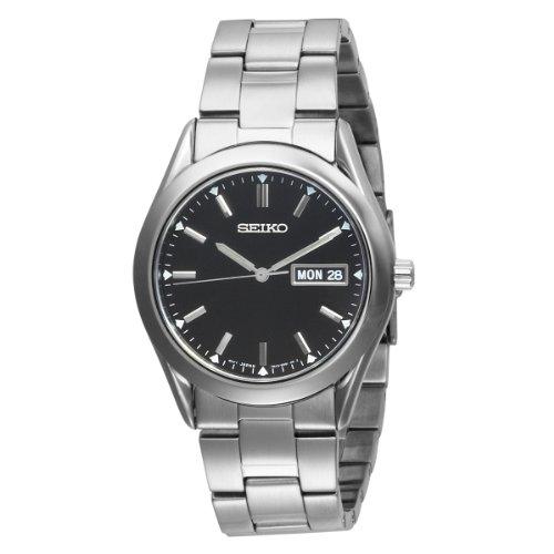 Seiko Men's SGGA49 Dress Silver-Tone Black Dial Watch