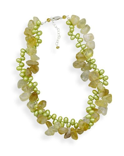 Citrine and Green Cultured Freshwater Pearl Twist Necklace