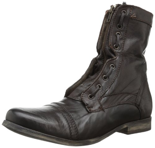 Steve Madden Men's Trojann Combat Boot,Brown Leather,10.5 M US