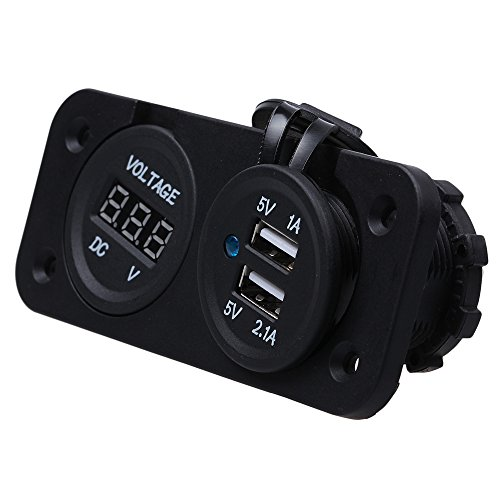 Tabstore Dual Usb Port Charger Socket With Dc Voltage Digital Led For Car Vehicle Motorbike, 12V Input, 5V 1A / 5V 2.1A Output