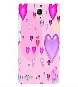 ColourCraft Beautiful Hearts Design Back Case Cover for XIAOMI REDMI NOTE