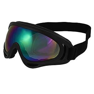 Woman Man Black Plastic Frame Colored Uni-lens Wind Sand Sports Ski Goggles