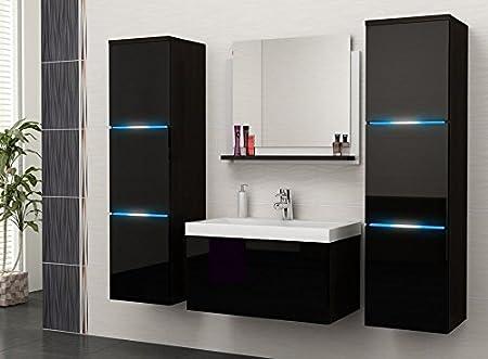 NEW STUNNING HIGH GLOSS VANITY WALL UNIT & SINK & MIRROR , bathroom furniture set (BLUE LED LIGHTS)