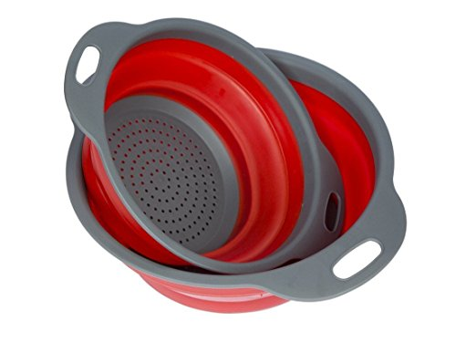 Collapsible Colanders, Windspeed 2 Pack Folding Kitchen Strainer Food Fruit storage for Microwave, oven, dishwasher, steamer (Red) (Rubber Veggie Steamer compare prices)