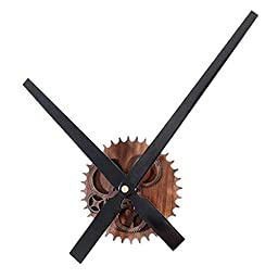 [New Version] ZHPUAT Elegant and Graceful Simple DIY Large Pointer 17.7 Inch Wall Clock Color Black + Wood